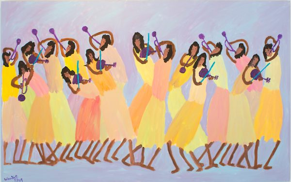 """Musicians on Purple"" by primitive artist Woodie Long"