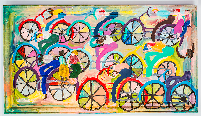"""Bicycles"" by primitive artist Woodie Long"