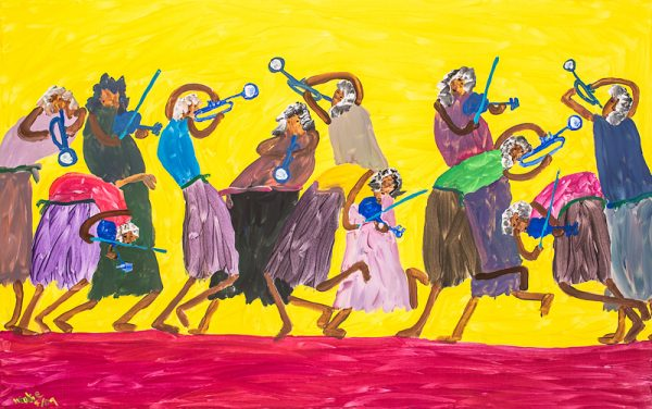 """Musicians on Yellow"" by primitive artist Woodie Long"