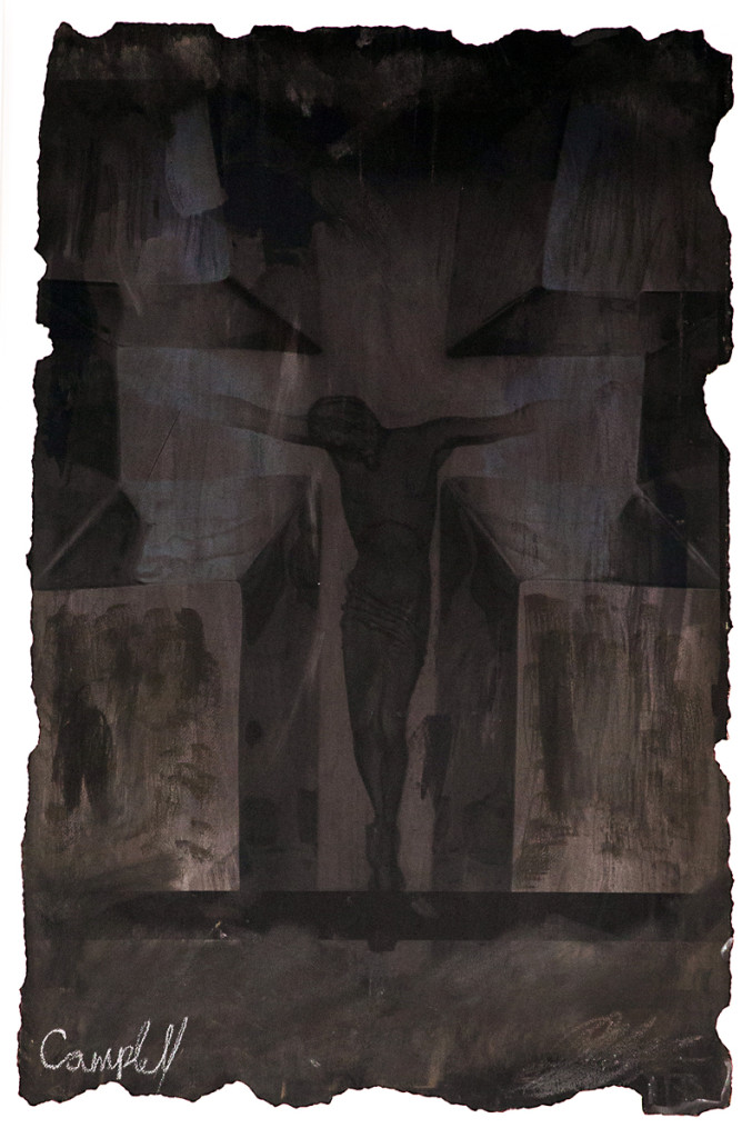 Black Jesus, by artist Scott Campbell. Watercolor on burned egyptian cotton, mounted on acid free mat boards.