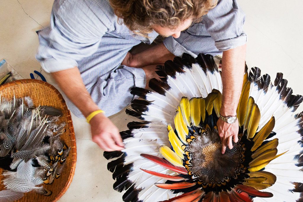 Artist Scott Campbell assembling his Thunder in the Pines feathered pieces. Rosemary Beach, Florida