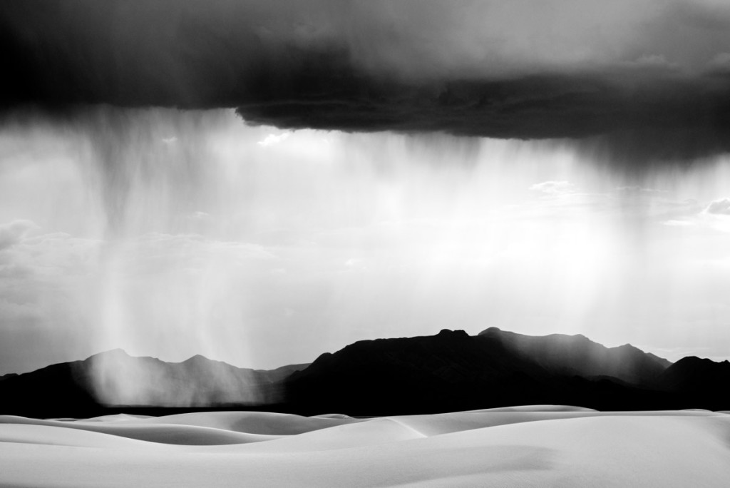 """""""Black & White Sand Storm"""" captures a breathtaking view of White Sands National Monument as a desert rain storm passes overhead. White Sands, New Mexico. Black and white, limited edition print by photographer Aranka Israni"""